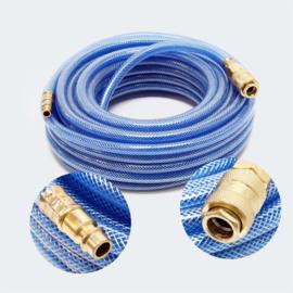 Persluchtslang 15m PVC compressor slang met snelkoppeling