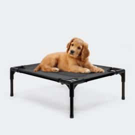 Hondenbed verhoogd ligbed zwart medium tot 20kg 77x61x20cm