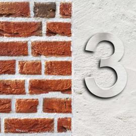 Huisnummer 3 Arial rvs/inox 3D 20cm weerbestendig
