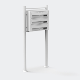 Drievoudige brievenbus staand model wit
