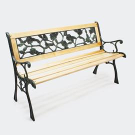 Tuinbank in hout en gietijzer met rozenpatroon