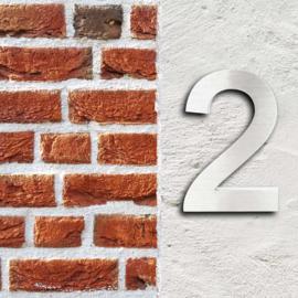 Huisnummer 2 Arial rvs/inox 3D 20cm weerbestendig