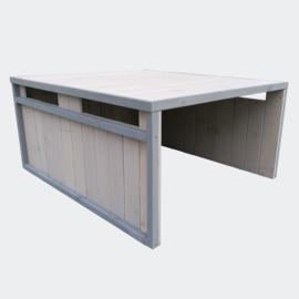 Garage voor gazon robotmaaier met plat dak grijs