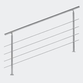 Leuning balustrade traprail rvs 4 dwarsbalken 180cm