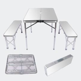 Opvouwbare campingtafel alu met 2 banken in zilver 90x66x70cm