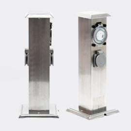 Buitenstopcontact rvs stekkerzuil tuinpaal 2 stopcontacten timer