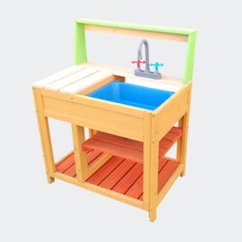 Speelkeuken XL in hout met gootsteen en werkblad
