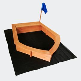 Houten zandbak boot vorm + doek in natuurhout