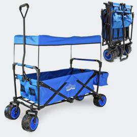 Opvouwbare handkar bolderkar met luifel blauw tot 70kg