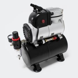 Airbrush compressor AF189 met waterafscheider en drukregelaar