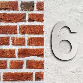 Huisnummer 6 Arial rvs/inox 3D 20cm weerbestendig