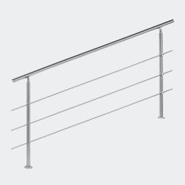 Leuning balustrade traprail rvs 3 dwarsbalken 180cm