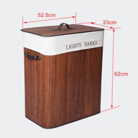 Bamboe Wasbox 105L met Linnenzak & 2 Vakken Naturel Opvouwbaar