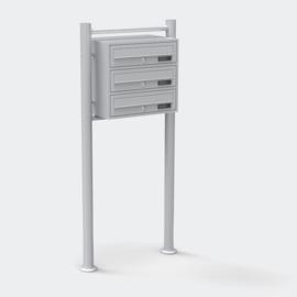Drievoudige brievenbus staand model zilver
