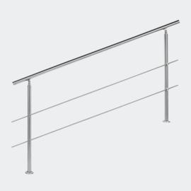 Leuning balustrade traprail rvs 2 dwarsbalken 180cm