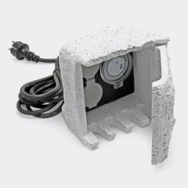 Tuinstopcontact met 2 contactdozen + timer IP44 Stone Design 1,5m kabel