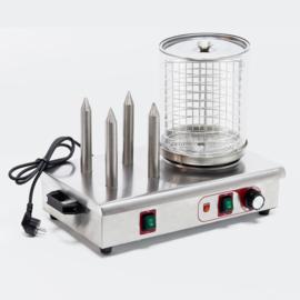 Hot Dog worst verwarmer 650W met verwarmingsstaven voor broodjes
