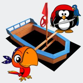 Houten zandbak boot vorm met vlaggenmast +doek