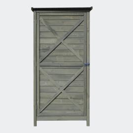 Tuinkast in hout 69,5x52x142cm met vleugeldeur en plat dak