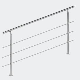 Leuning balustrade traprail rvs 3 dwarsbalken 160cm