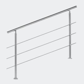 Leuning balustrade traprail rvs 3 dwarsbalken 140cm