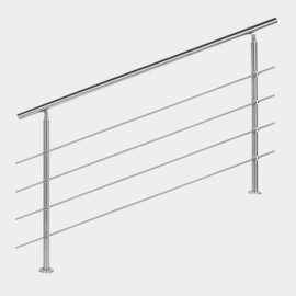 Leuning balustrade traprail rvs 4 dwarsbalken 160cm