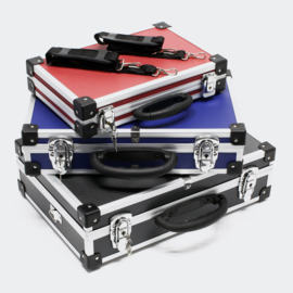 Kofferset in aluminium gereedschapskisten zwart blauw rood
