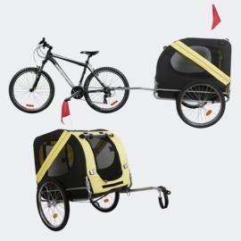 Hondenkar waterdicht fietskar trailer geel/zwart hond