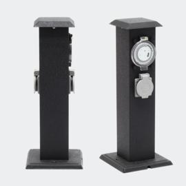 Buitenstopcontact stekkerzuil tuinpaal 2 stopcontacten timer zwartgrijs