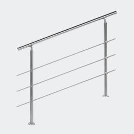 Leuning balustrade traprail rvs 3 dwarsbalken 120cm