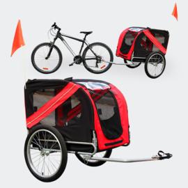 Hondenkar waterdicht fietskar trailer rood/zwart hond