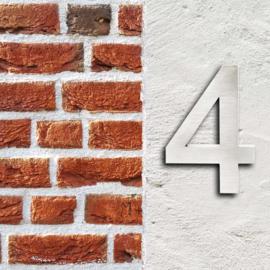 Huisnummer 4 Arial rvs/inox 3D 20cm weerbestendig