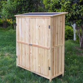 Tuinopberger hout natuurlijke kleur 2 deuren gereedschapskast