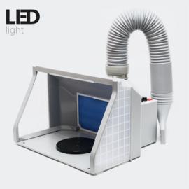 Airbrush spuitcabine filterafzuiging regelbaar 9m³/min LED