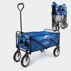 Handkar bolderkar blauw met laadruimte 80x46cm