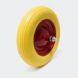 PU-wiel kruiwagenwiel compleet formaat 4.00-8, massief rubber, stalen as