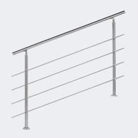 Leuning balustrade traprail rvs 4 dwarsbalken 140cm