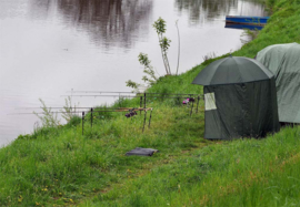 Vissersparaplu 250cm met zijwand 2 ramen wind- en regenbescherming