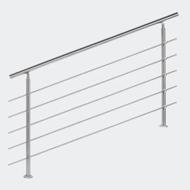 Leuning balustrade traprail rvs 5 dwarsbalken 160cm