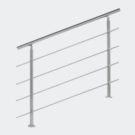 Leuning balustrade traprail rvs 4 dwarsbalken 120cm