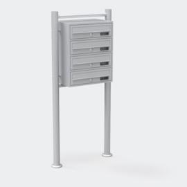 Viervoudige brievenbus staand model zilver