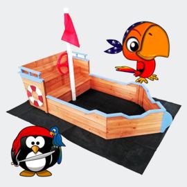 Houten zandbak boot vorm met vlaggenmast en zitbank + doek