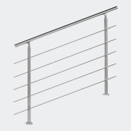 Leuning balustrade traprail rvs 5 dwarsbalken 120cm