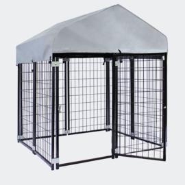 Hondenkennel met dak en stalen rooster 121x121x137cm voor buitenshuis