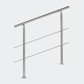 Leuning balustrade traprail rvs 2 dwarsbalken 80cm