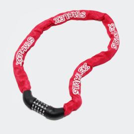 Fietsslot cijferslot hangslot rood ketting met 5-cijferige code 120 cm