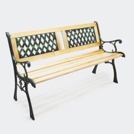 Tuinbank in hout en gietijzer met 2-delig roosterpatroon
