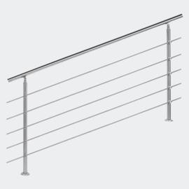 Leuning balustrade traprail rvs 5 dwarsbalken 180cm