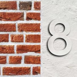 Huisnummer 8 Arial rvs/inox 3D 20cm weerbestendig