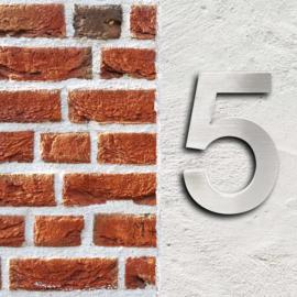 Huisnummer 5 Arial rvs/inox 3D 20cm weerbestendig